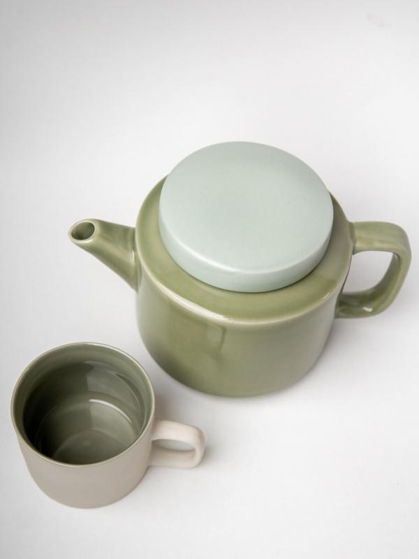 rhoeco kinta teapot light grey celadon