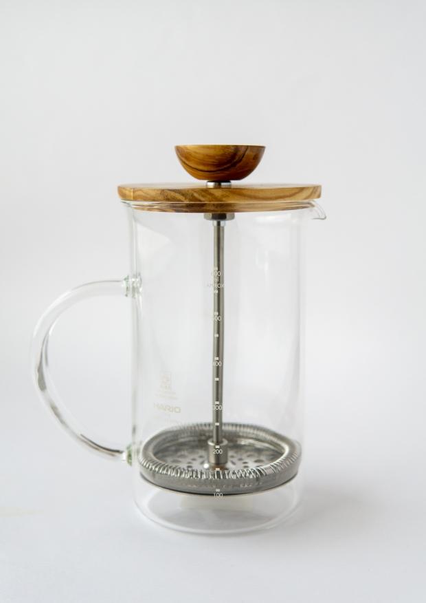 tea press olive wood