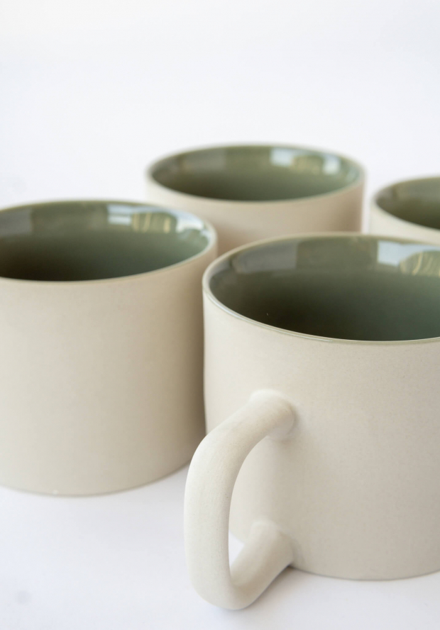 TEACUPS LIGHT GREY/CELADON [Set of 4]