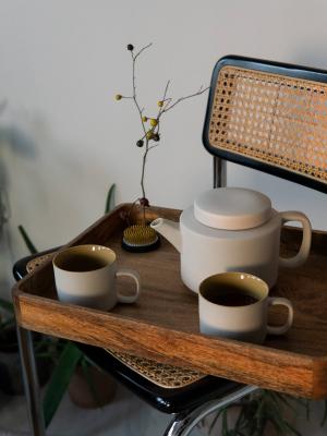 rhoeco kinta teapot teacups light grey mustard